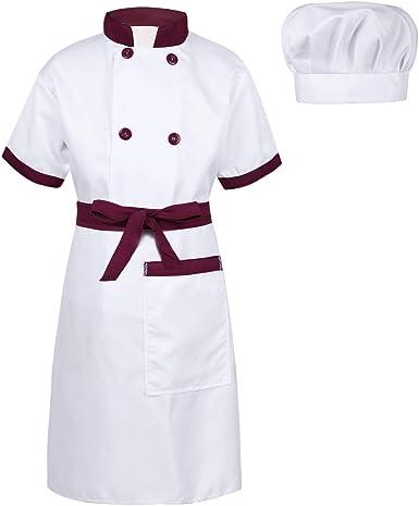 inhzoy Disfraz de Cocinero para Niños Niñas Cosplay Uniforme de Chef 3Pcs Camisa Delantal Gorro Traje de Cocina para Halloween Fiesta Carnaval