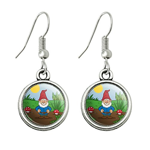Garden Gnome with Toadstools Novelty Dangling Drop Charm (Gnome On Toadstool Costume)