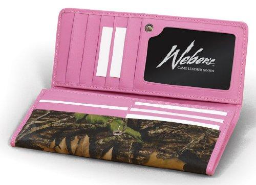 Weber's Leathers Women's Checkbook Wallet, Mossy Oak Break-Up/Pink, One Size