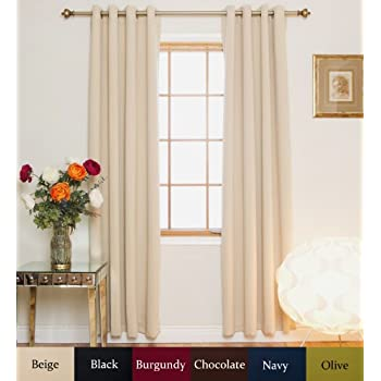 Beige Nickel Grommet Top Energy Saving Thermal Insulated Blackout Curtain  108 Inch Length Pair