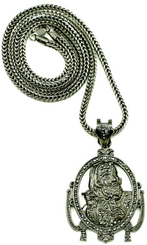 GWOOD Zig Large Iced Out New Pendant With 36 Inch Long Necklace Gun Metal/Gun Metal Color Crystal Rhinetones