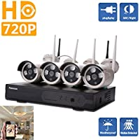 IP Security Camera System-HD Wireless NVR Surveillance Security System 720P With Night Vision Outdoor Weatherproof 4pcs Bullet Cameras