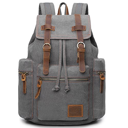 Canvas Backpacks Vintage Rucksack Casual Leather Army Kipling Knapsack 19L – DiZiSports Store