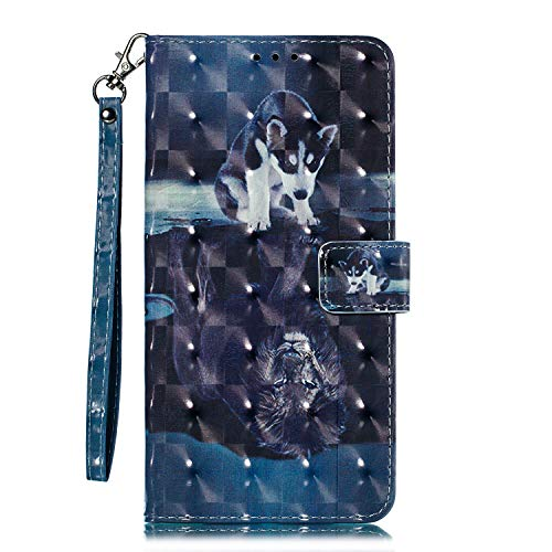 Galaxy S9 - Case, for [S9], MerKuyom [Kickstand] Premium PU Leather Wallet Pouch [Card Holder] Protective Flip Cover Skin Case Holster for Samsung Galaxy S9 (Fun Dog Lion Pattern)