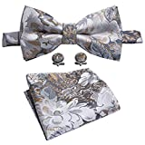 Bow Tie Floral Gray Tie Hanky Cufflinks Set Designer Wedding Tie Silver Fashion Party Prom