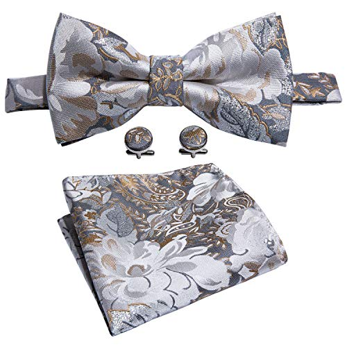Bow Tie Floral Gray Tie Hanky Cufflinks Set Designer Wedding Tie Silver Fashion Party Prom by Barry.Wang