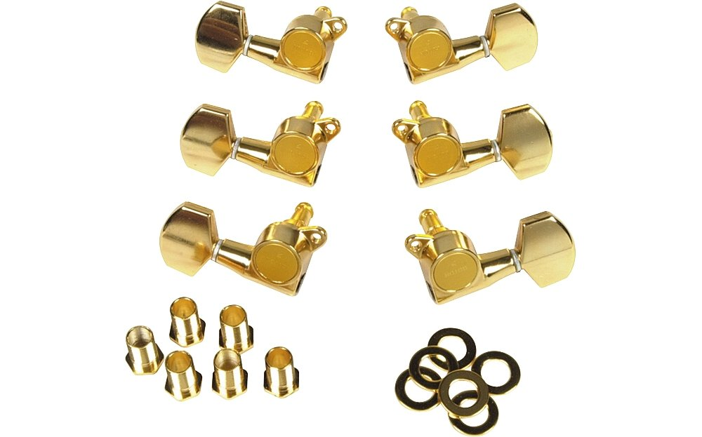 Gotoh MLG3-G 3-On-A-Side Locking Tuners 6-Pack Gold