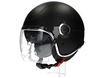 Vespa VJ - Casco de moto, color negro mate
