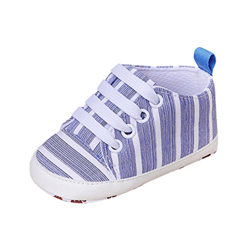 KONFA Toddler Infant Baby Boys Girls Striped Soft Sole Sneakers,for 3-12 Months,Lace-up Anti-Slip Crib Boots (Blue, 3-6 Months) Lace Up Striped Stockings