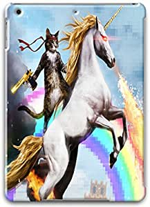 Ipad Air Cases, Ipad Air Case, A Cat Riding a Fire Unicorn and Rainbow Painting