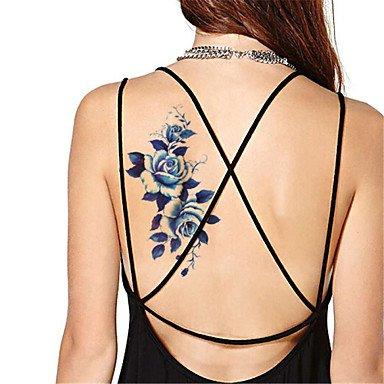 5Pcs/Set Waterproof Blue Peony Temporary Tattoo Sticker Flash tattoos ()