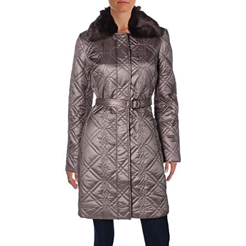 Dress Barn Womens Quilted Faux Fur Coat Brown M