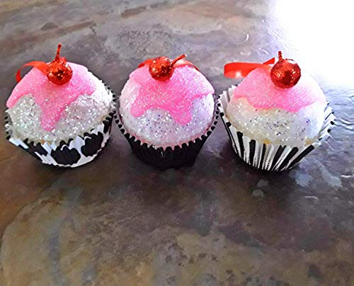 Aydan' s Pink Frosted Cupcake Ornaments Set of 6