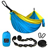 Gold Armour Camping Hammock - XL Double Parachute Camping Hammock (2 TREE STRAPS 16 LOOPS/10 FT INCLUDED) Lightweight Nylon Portable Hammock, Best Parachute Double Hammock (Blue/Yellow)