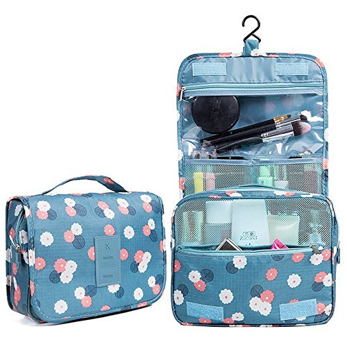 Travel Cosmetic Makeup Bag Toiletry Case Wash Organizer Storage Printing Hanging Pouch Doubtless Bay (daisy mint) (Bay Daisy)
