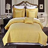 Luxury Checkered Quilted Wrinkle Free Coverlets Bedspread 100% Microfiber Set Gold/Twin-TwinXL(2PC)