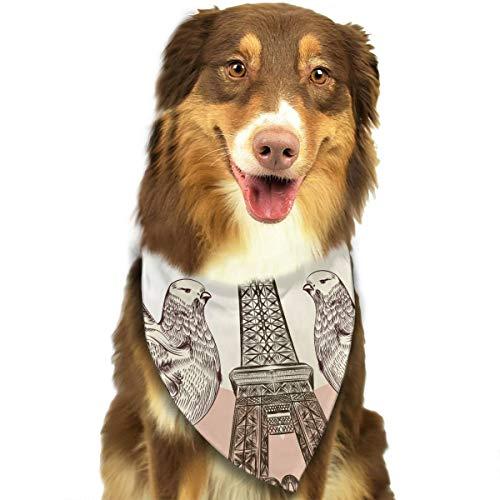 ZXCVB Double Eagle Red Heart Eiffel Tower Dog Bandana Triangle Bibs Adjustable Scarfs Baby Pet Kerchief Puppy Neckerchief Delicate Printing ()