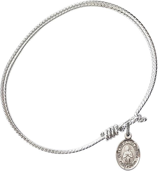 Our Lady Of Rosa Mystica Charm On A 7 Inch Oval Eye Hook Bangle Bracelet