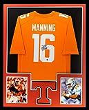 Peyton Manning Autographed/Signed Tennessee Volunteers Framed Orange Custom Jersey