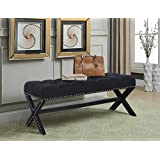 Iconic Home Dalit Updated Neo Traditional Polished Nailhead Tufted Linen X Bench, Black