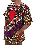 RaanPahMuang Unisex Bright Africa Heart Dashiki Cotton Plus Size Shirt, XXXXX-Large, Heart Purple