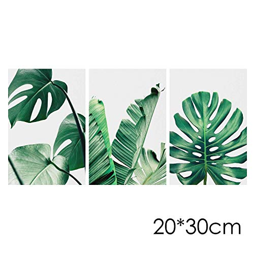 Kikole 3Pcs/Set Frameless Leaf Wall Art Oil Painting Landscape Painting Print on Canvas Plant Poster Home Decoration - Frameless Oil Painting Set