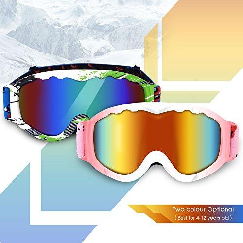DAS Leben Lunettes de Ski Masques et Lunettes de Protection Sport dhiver pour Homme Femme Enfant Rose-blanc NEW