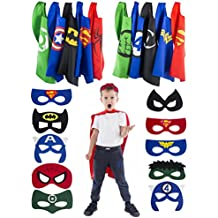 5 Reversible Superhero Capes and 10 Masks for Kids - Halloween Dress Up