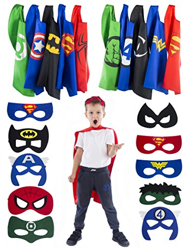 5 Reversible Two Sided Superhero Capes and 10 Masks for Kids - Halloween Dress Up for 3 to 10 Years Old Boys and Girls	 (Superheroes Costume Ideas For Kids)