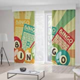 iPrint Vintage Decor Blackout Curtains,Bingo Game Ball Cards Pop Art Stylized Lottery Hobby Celebration Theme,Window Drapes 2 Panel Set, Living Room Bedroom,104 W 84 L,Multi