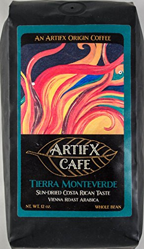 Artifx Cafe Tierra Monteverde Costa Rica Coffee - 12 oz, Whole Bean - Nature Friendly - Vienna Roast from Artifx Cafe