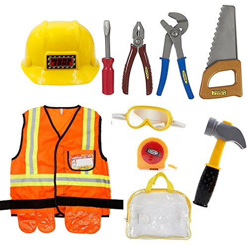 (Mizzuco Worker Role Play Costume Set Construction Worker Dress up Toy Kit with Tools for)