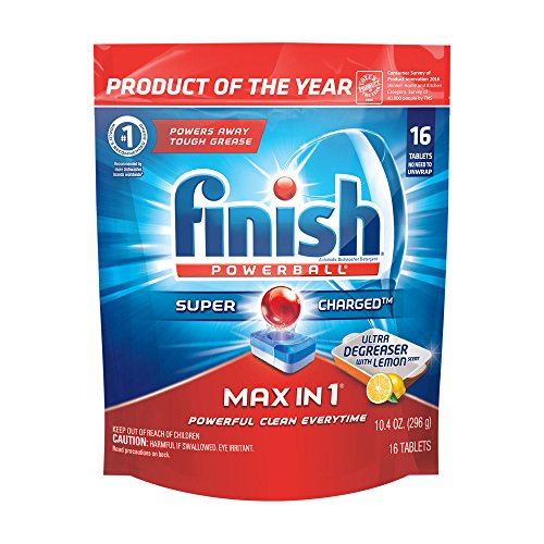 Finish Max in 1 Powerball, 16ct, Ultra-Degreaser w. Lemon Dishwasher Detergent Tablets