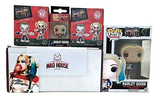 Mad House Central Suicide Squad 5 Piece Set – Harley Quinn Pop, Keychain, 2 Mystery Mini Toy Figures w/ a Harley Magnet