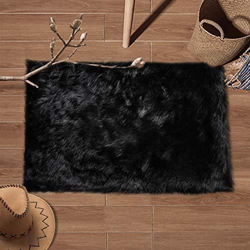 (YJ.GWL Super Soft Faux Fur Area Rug (2'x3') for Bedroom Sofa Living Room Fluffy Bedside Rugs Home Decor, Black Rectangle)