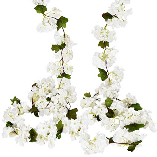 (Sunm boutique Artificial Cherry Blossom Wall Hanging Vine Silk Flower Garland Wedding Party Home Decor (White, Pack of 2) )
