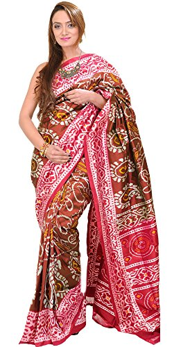 Ikat Sari - Exotic India friar-Brown Ikat Patola Sari From Pochampally With Hand-Woven Paisl