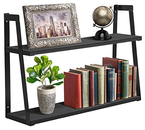 (Sorbus 2-Tier Wooden Floating Shelf with Metal Brackets - Wall Mounted Rustic Industrial Wood Storage Wall Shelves for Home Décor in Living Room, Bathroom, Entryway (Black))