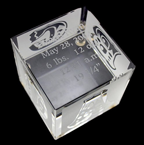 Personalized Crystal Baby Block with Custom Engaving (2'' x 2'' x 2'') by Prism Crystal