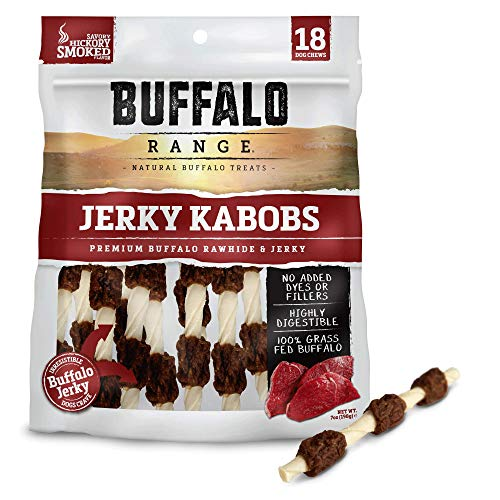 Buffalo Smoked Jerky - Buffalo Range Rawhide Dog Treats | Healthy, Grass-Fed Buffalo Jerky Raw Hide Chews | Hickory Smoked Flavor | Jerky Kabob, 18 Count