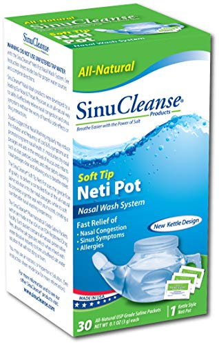 SinuCleanse Nasal Wash System, Plastic soft tip Neti Pot With Salt Packets (Neti Sinu Pot Cleanse)