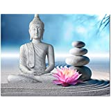 "Buddha Canvas Wall Art,Framed and Stretched,Large Size Peaceful Buddha Act with Compassion ,White Sand Zen Stone Canvas Prints,Water-proof,Religious Style Canvas Art (24""x32"")"