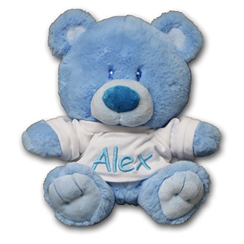 Personalized Baby Boy Bear with T-Shirt Sitting Plush Stuffed Animal Toy - Baby Blue