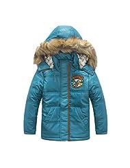 Pretty Tiger Children's With Hooded Fur Collor Zip Boy's Coat Winter