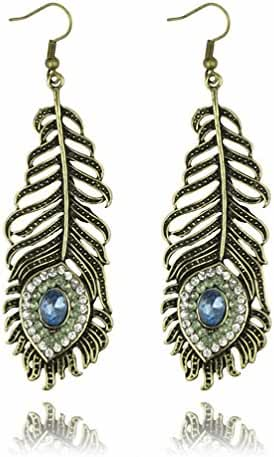 megko Vintage Blue Crystal Rhinestone Peacock Feather Leaf Big Dangle Drop Earrings