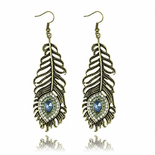 rystal Rhinestone Peacock Feather Leaf Big Dangle Drop Earrings (feather) ()