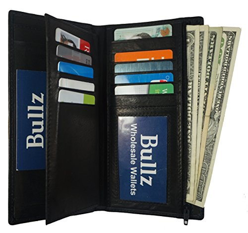 Genuine Leather Checkbook Cover Wallet Organizer with Credit Card Holder (Black) - Mens Wallet Checkbook Leather