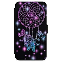 iPhone 6 Plus Case, Midnight Dream Catcher Phone Case by Casechimp® | Premium Leather Flip Wallet Card Holder Slots | Lotus Dream Catcher Dormeo Teepee Love