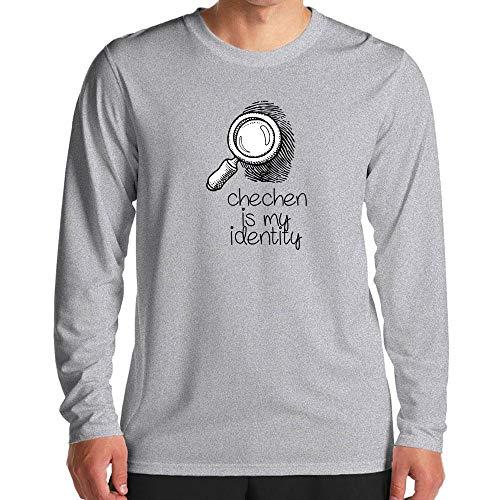 Idakoos Chechen is My Identity Magnifying Glass Long Sleeve T-Shirt L Heather -
