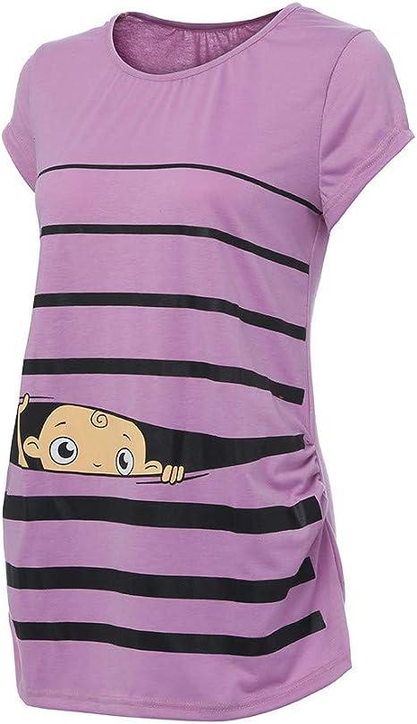 QinMM Camiseta de Maternidad a Rayas Gracioso Camisa Mujer Blusa Embarazadas Premamá Primavera otoño veranos Tops